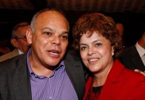 Milton Alves com Dilma Roussef em ato de apoio do PCdoB em Brasilia